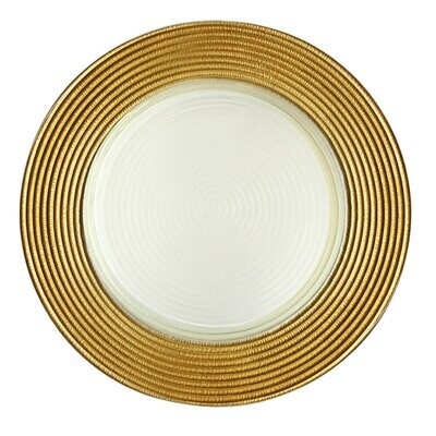Gold Trim Glass Charger