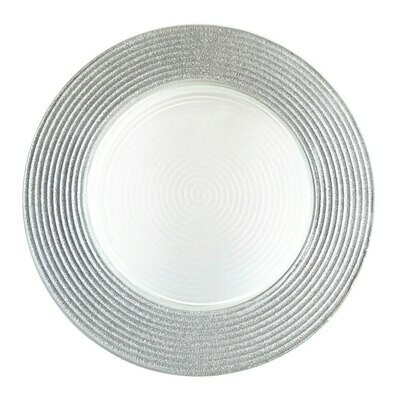 Silver Trim Glass Charger