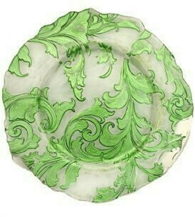 Green Damask Glass Charger