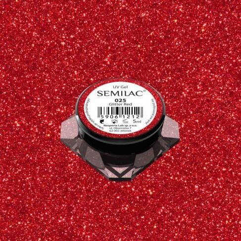 025 UV GEL COLOR SEMILAC GLITTER RED 5ML