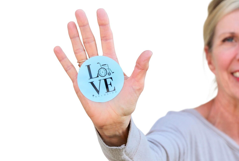 Blue Sticker 'Love Inclusion'- 3 inches round