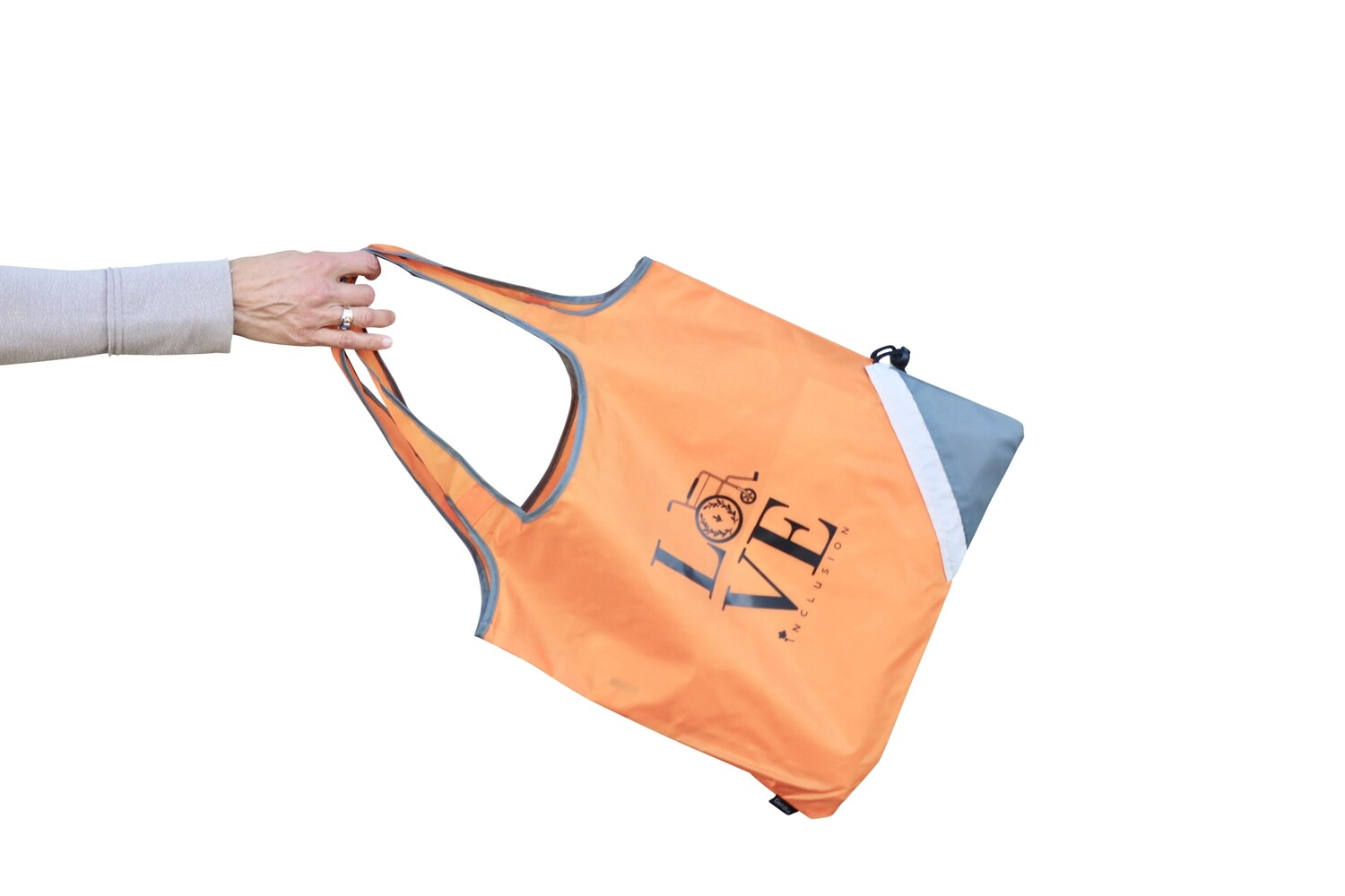 Packable Nylon Orange Inclusion Love Bag