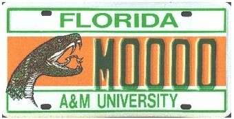 Florida A&M University Florida Specialty License Plate