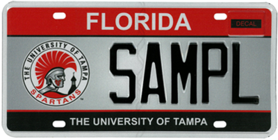 University of Tampa Florida Specialty License Plate