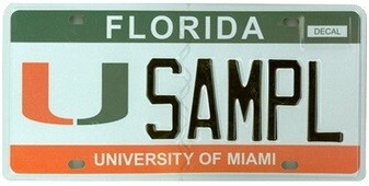 University of Miami Florida Specialty License Plate