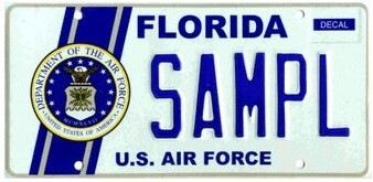 US Airforce Florida Specialty License Plate