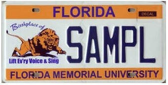 Florida Memorial University Specialty License Plate