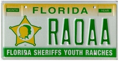 Florida Sherrifs Youth Ranches Specialty License Plate