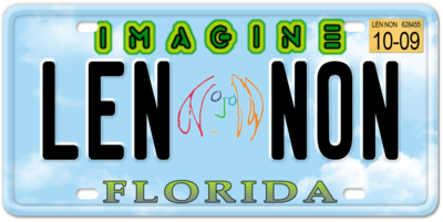 Imagine Florida Specialty License Plate