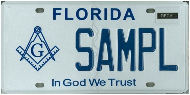 Freemasonry Florida Specialty License Plate