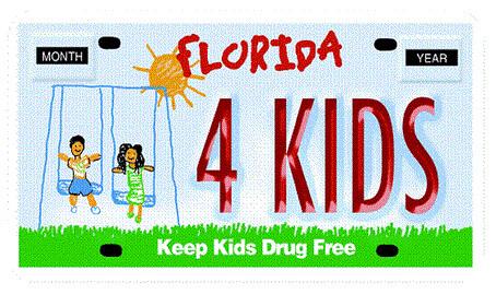 Keep Kids Drug Free Florida Specialty License Plate