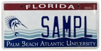 Palm Beach Atlantic University Florida Specialty License Plate