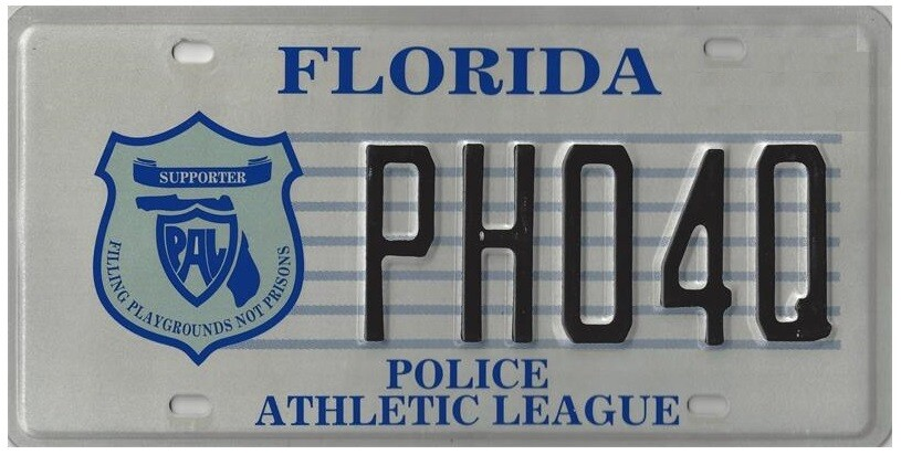Police Athletic League Florida Specialty License Plate