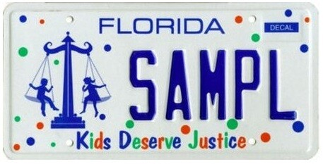 Kids Deserve Justice Florida Specialty License Plate