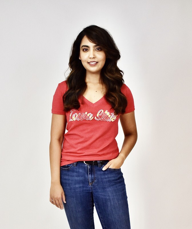 Women's Red V-neck Iowa State Tartan T-shirt, Small