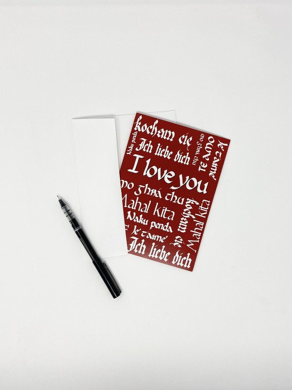 Endure Manuscripts Multilingual I Love You Card