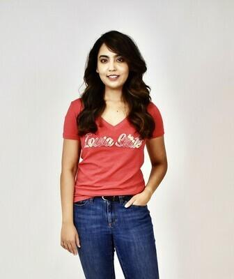 Women's Red V-neck Iowa State Tartan T-shirt