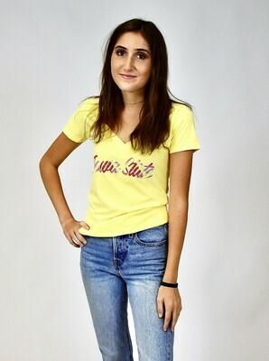 Women's Yellow V-neck Iowa State Tartan T-shirt