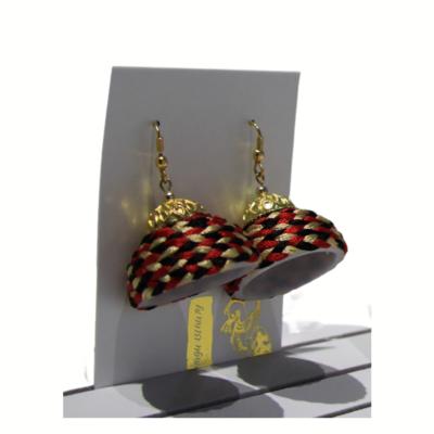 Earrings, Woven Bell Red