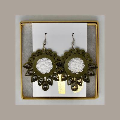 Earrings, Paper Lotus Green