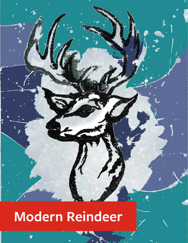 """Modern Reindeer"" Holiday Greeting Card Set"