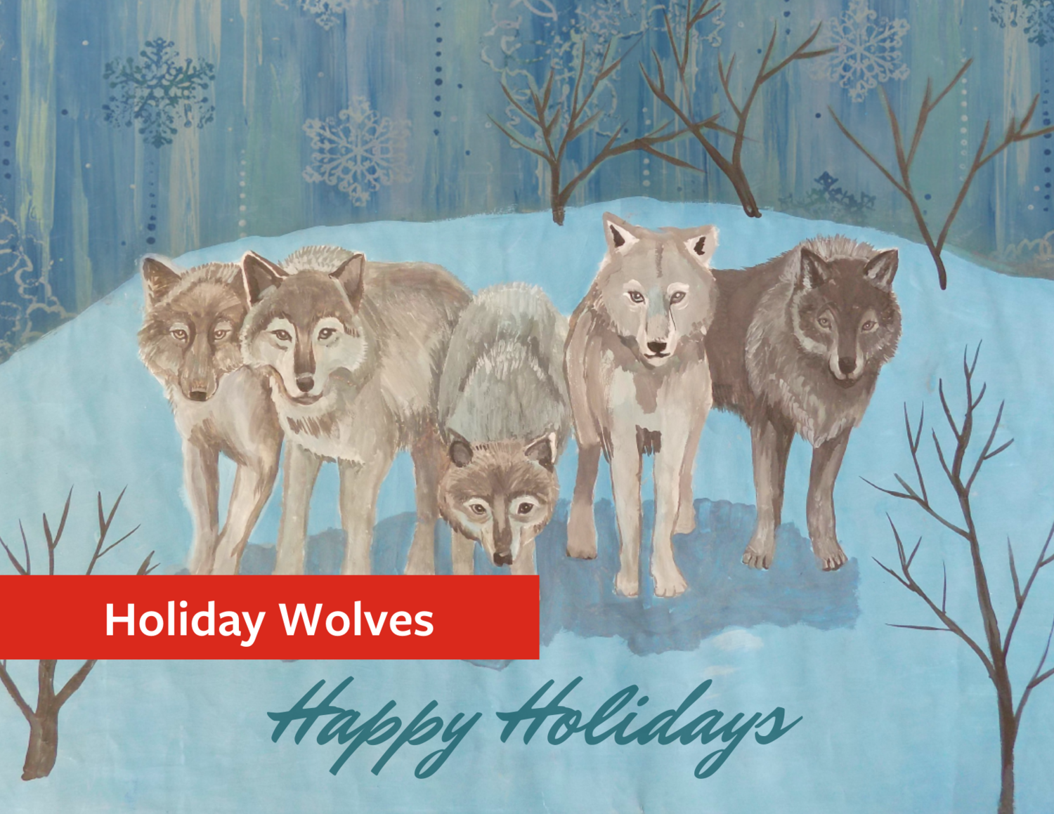 """Holiday Wolves"" Holiday Greeting Card Set"