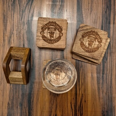 Manchester United - Natural Wooden Coasters