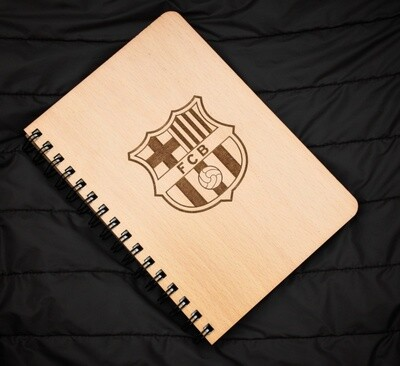FC Barcelona Diary Notebook with Engraved Wooden Cover