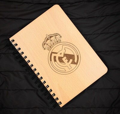 Real Madrid CF Diary Notebook with Engraved Wooden Cover