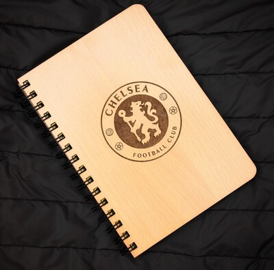 Chelsea FC Diary Notebook with Engraved Wooden Cover