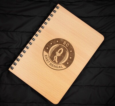 SC East Bengal Diary Notebook with Engraved Wooden Cover
