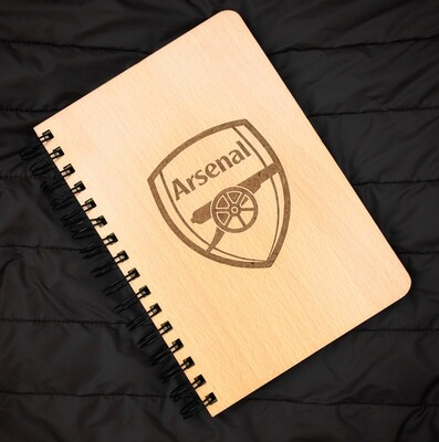 Arsenal FC Diary Notebook with Engraved Wooden Cover