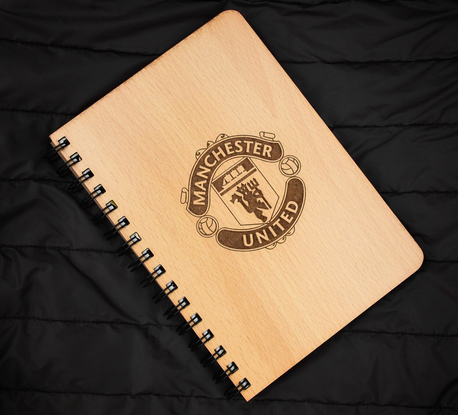 Manchester United Diary Notebook with Engraved Wooden Cover