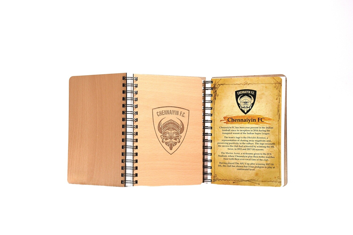 Chennaiyin FC Diary Notebook with Engraved Wooden Cover