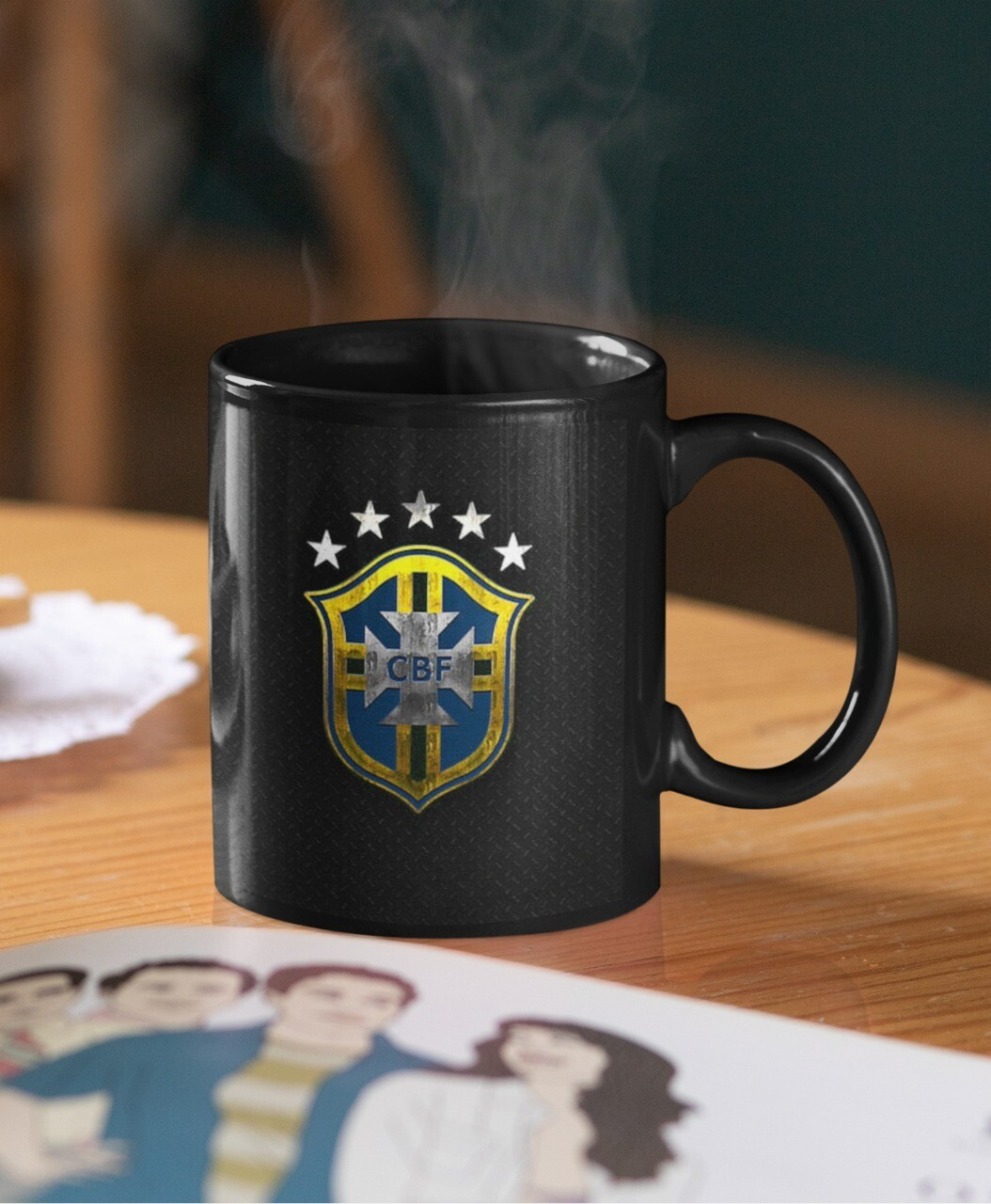 Brazil Football Team Logo Mug (Microwave and Dishwasher Safe)
