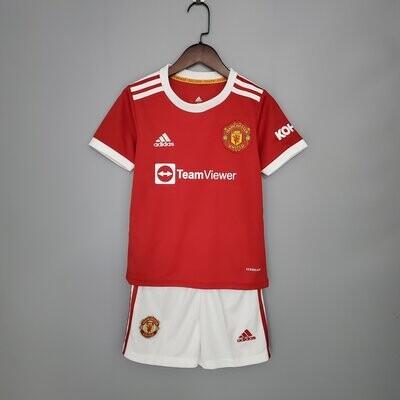 Manchester United Home 21-22 Kids Jersey Set