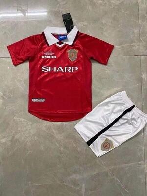 Manchester United 1999 UCL Final Retro Kids Jersey Set