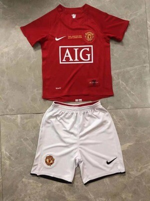 Manchester United 2008 UCL Final Retro Kids Jersey Set
