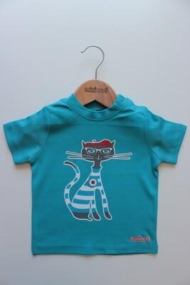 T Shirt - Cat / Blue