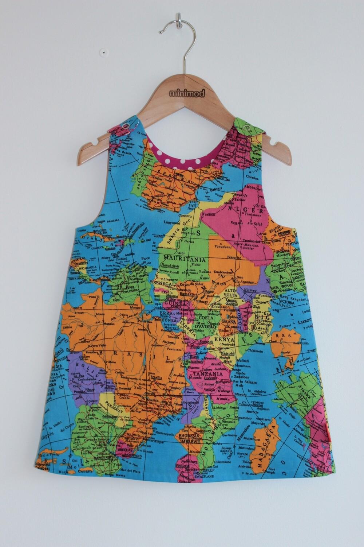 Classic Minimod Reversible Dress - World Map