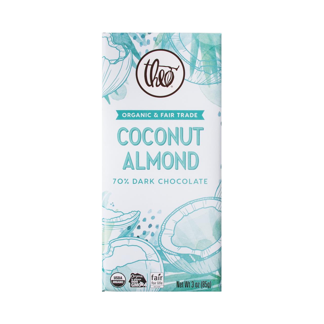 Theo Coconut Almond 70% Dark Chocolate Bar