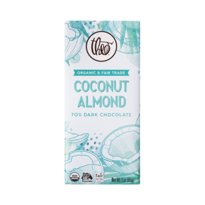 Theo Coconut Almond 70% Dark Chocolate Bar