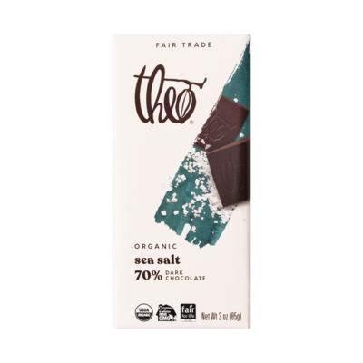Theo Dark Chocolate Salted Almond 70% Dark Chocolate Bar