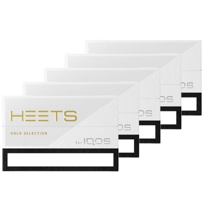 Gold Selection / Label HEETS, 5 Packs/ 100 Sticks for IQOS and lil Solid