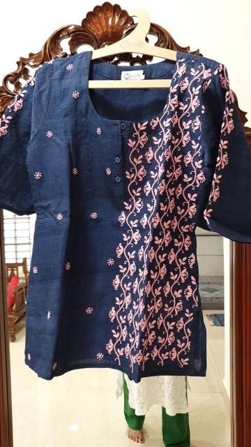 Indigo handloom top with pink flowers