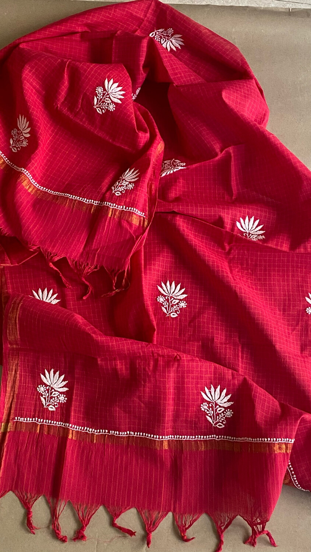 White Hand Embroidery on Rani Pink Dupatta