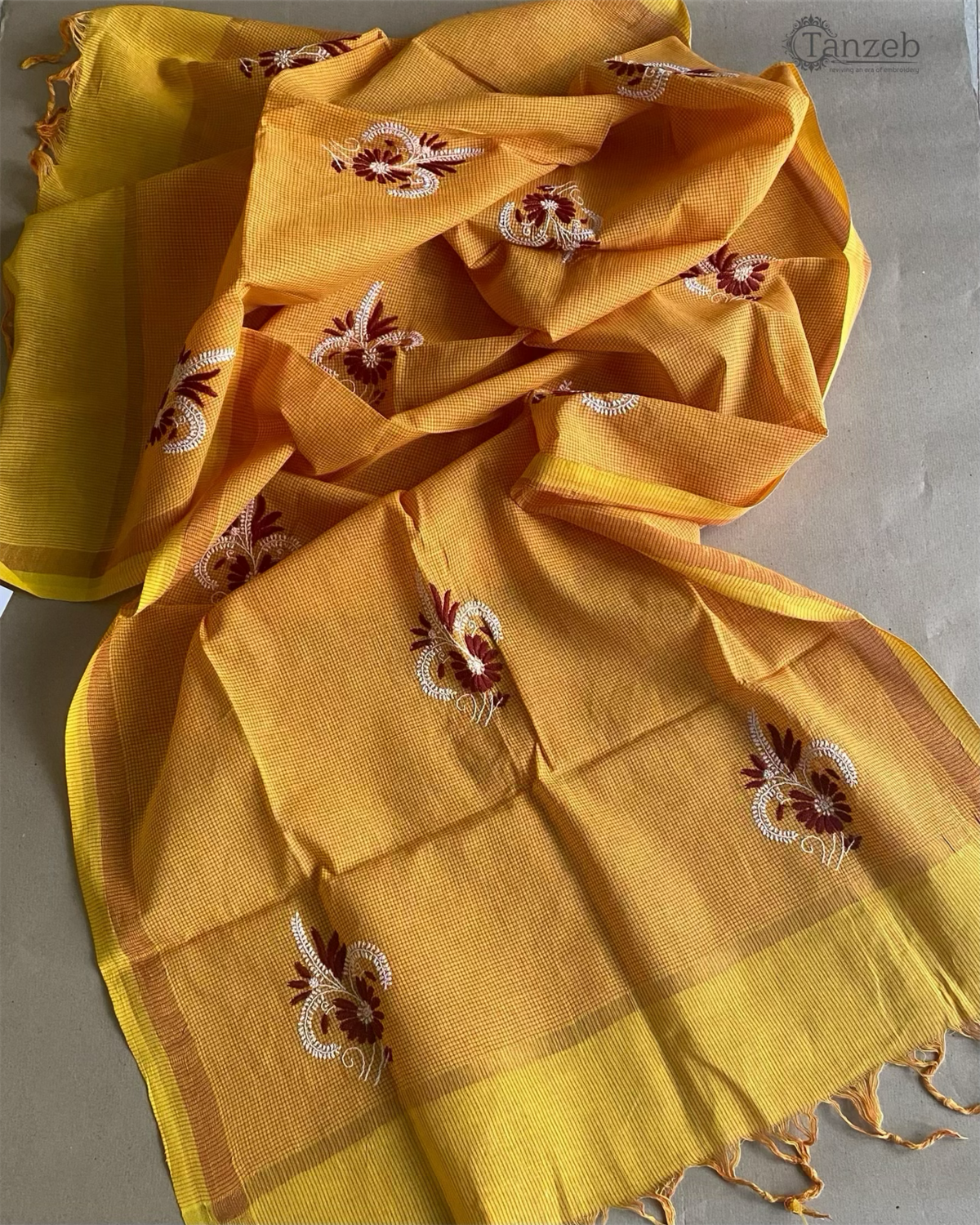 Red and White Embroidery On Yellow Dupatta