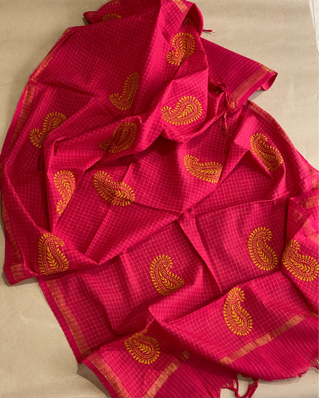 Yellow Hand Embroidery On Rani Pink Dupatta