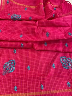 Blue Hand Embroidery On Rani Pink Cotton Dupatta