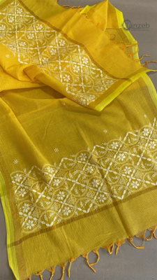 White Hand Embroidery on Yellow Dupatta